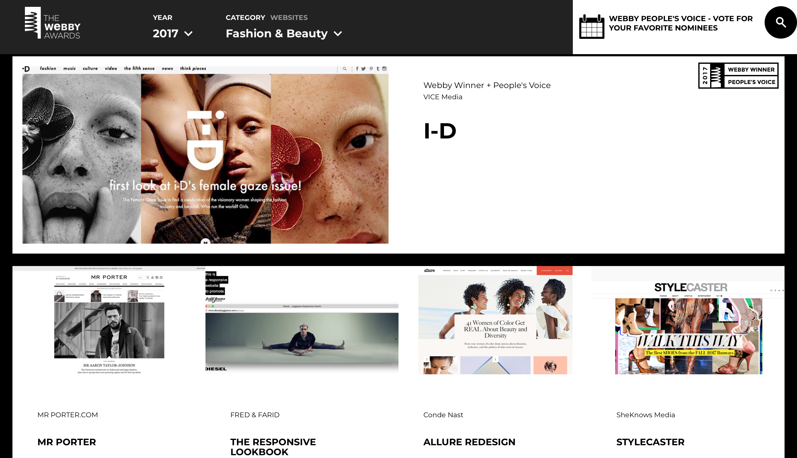 Webby Award winner i-D Magazine