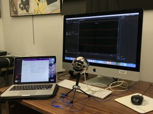 Another image of behind the scenes of recording my podcast