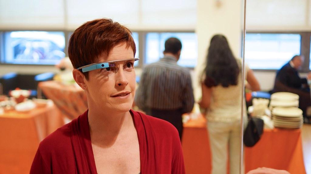 Woman wearing Google Glass Augmented Reality Glasses